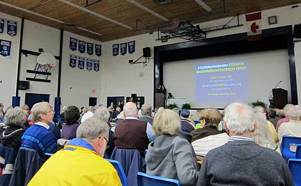 Close to 500 people filled the Port Hope High School auditorium to hear Dr. Paul Connett's presentation on April 24, 2013